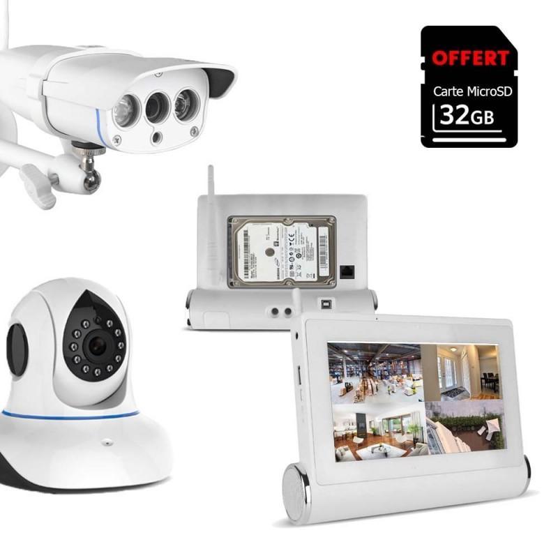 Kit de vidéosurveillance Wifi avec tablette tactile multimédia + caméras intérieure et extérieure HD (4098)
