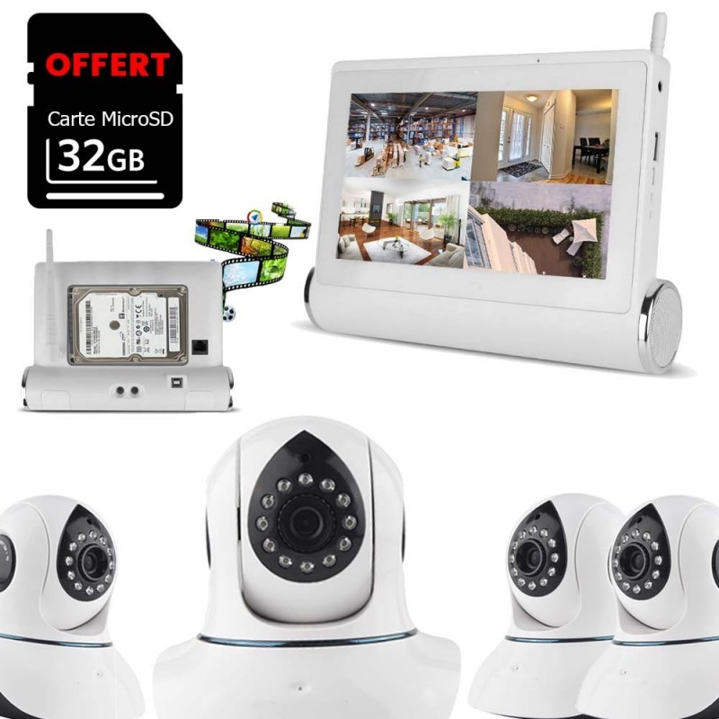 Système de vidéosurveillance Wifi avec tablette tactile multimédia + 4 caméras intérieures HD (4093)