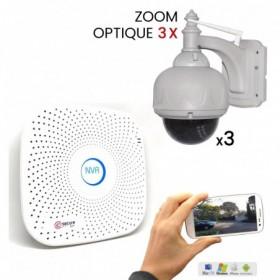 Pack de vidéosurveillance avec 3 dômes motorisés extérieurs HD WiFi avec zoom optique (3910)