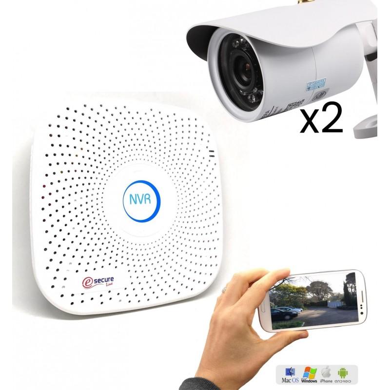 Pack de vidéosurveillance avec 2 caméras fixes extérieurs HD WiFi (3927)