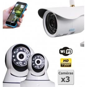 pack de deux camera de surveillance ip hd wifi interieur et exterieur (4414)