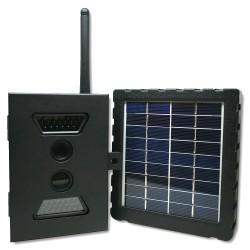 Ensemble caméra camouflée boitier anti-vol et panneau solaire