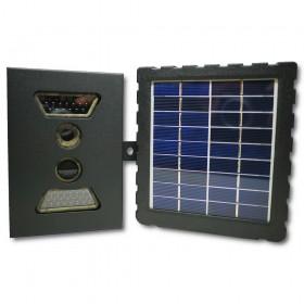 Kit caméra camouflée avec box de protection et panneau solaire d'alimentation