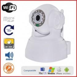 Caméra IP motorisée intérieure avec micro et emplacement carte mémoire