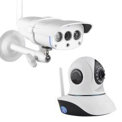 Kit de deux caméras de vidéo-surveillance intérieur/extérieur