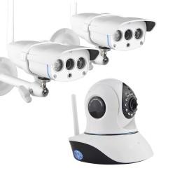 Kit de trois caméras de vidéo-surveillance intérieur/extérieur