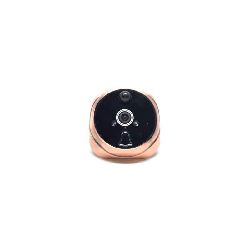Caméra extérieure or pour judas numérique avec vision nocturne, bouton sonnette et micro.