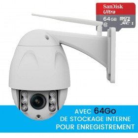 Caméra dôme extérieure motorisée avec enregistrement sur carte SD