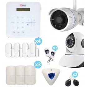 Alarme A9 sans fil GSM avec sirène déportée + caméra FULL HD Wifi extérieure + caméra IP Wifi rotative intérieure - Maison T4