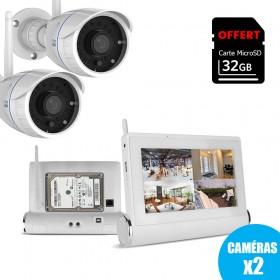 Kit de vidéosurveillance Wifi avec tablette tactile multimédia + caméras intérieure et extérieure HD