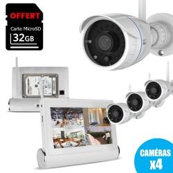Tablette stockeur multimédia pour surveillance avec 4 caméras wifi sans fil FULL HD 1080P