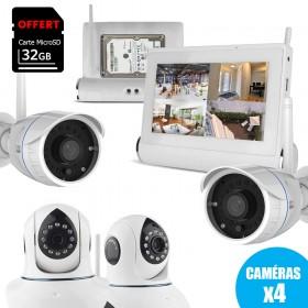 systeme de vidéosurveillance Wifi avec tablette tactile multimédia + 2 caméras intérieures HD + 2 caméras extérieures HD (4094)