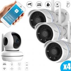 Kit caméras vidéosurveillance full hd pour l'intérieur et l'extérieur