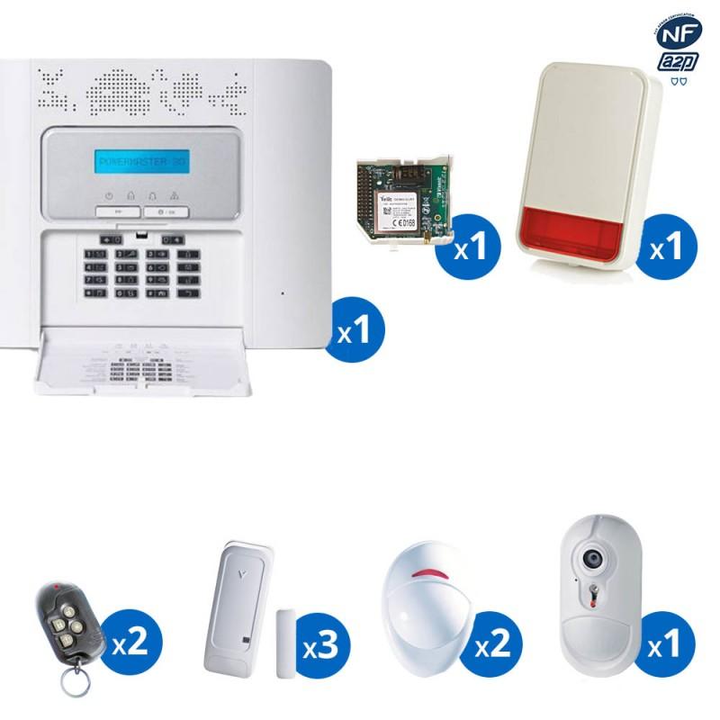Pack alarme radio PowerMaster30 Visonic avec transmetteur GSM detecteur avec camera et sirene exterieure NFA&2P - KIT 10