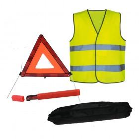 Kit de sécurité véhicule avec gilet à bandes réfléchissantes et triangle de signalisation