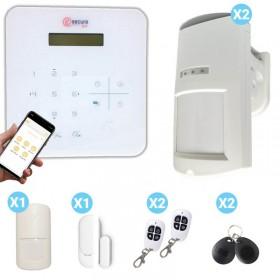 Kit centrale d'alarme blanche sans fil et détecteurs de présence extérieur