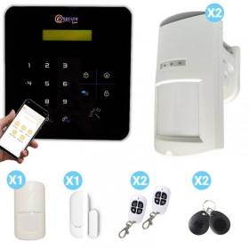 Kit centrale d'alarme noire sans fil et détecteur de présence extérieur