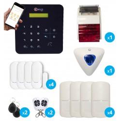 pack alarme sans fil radio gsm avec sirene exterieure et intérieure pour maison