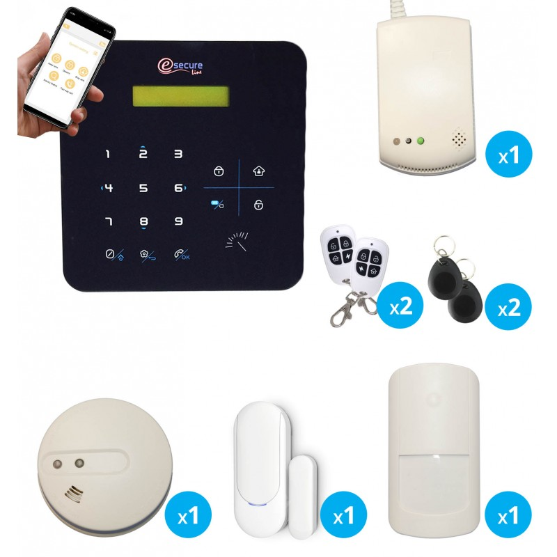 pack alarme sans fil radio gsm avec detecteur de gaz et de fumee