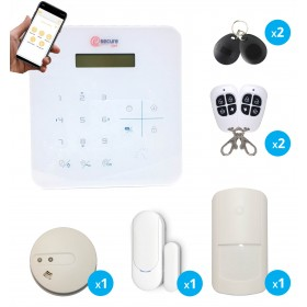 Pack alarme sans fil pour maison avec détecteur de fumée