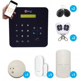 Alarme A9 sans fil GSM avec détecteur de fumée connecté - Appartement T2 / T3