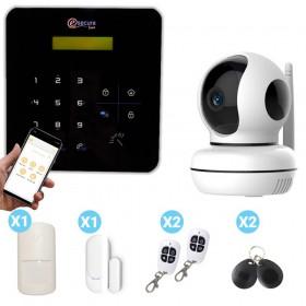 Pack alarme maison avec centrale noire caméra design