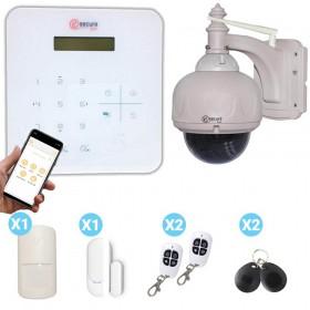 Kit centrale d'alarme blanche sans fil et caméra dôme