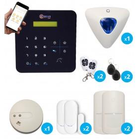pack alarme transmission gsm avec sirene et detecteur de fumee sans fil