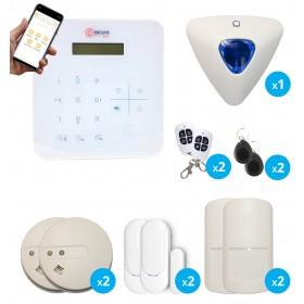 pack alarme transmission gsm avec sirene et 2 detecteurs de fumee sans fil
