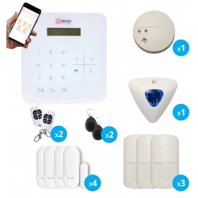 pack alarme sans fil radio gsm avec de fumee et sirene interieure