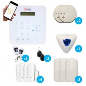 pack alarme sans fil radio gsm avec de sirene interieure et detecteurs de fumee, de mouvement et d'ouverture