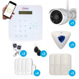 pack alarme avec caméra full hd wifi extérieure , sirene deporte et detecteur de mouvement et ouverture