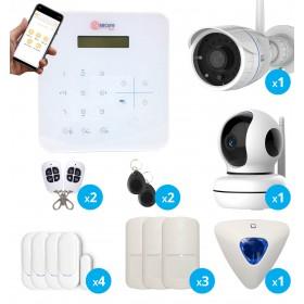 pack alarme sans fil GSM avec caméras full hd wifi interieure et exterieure et sirène déportée