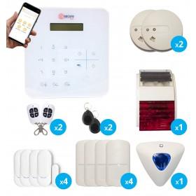 pack alarme sans fil radio gsm avec de sirene interieure et extérieure et detecteurs de fumee, de mouvement et d'ouverture