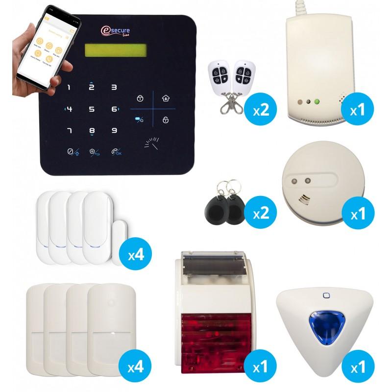 pack alarme maison sans fil avec detecteurs de fumee et gaz sirenes