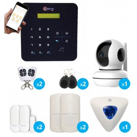 pack alarme sans fil noire avec camera intérieure full hd connectée