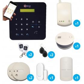 pack alarme sans fil radio gsm avec detecteur de gaz, de fumee et de monoxyde de carbone