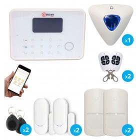 Pack alarme sans fil GSM et RTC blanc