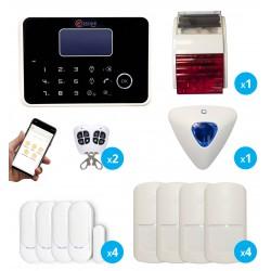 pack alarme maison sans fil gsm rtc avec sirènes intérieure et extérieure