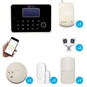 pack alarme sans fil avec detecteur de fumee et gaz