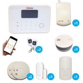 pack alarme sans fil avec detecteurq de fumee, de gaz et de monoxyde de carbone
