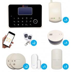 Pack alarme sans fil GSM et RTC  noire