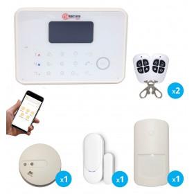 Kit alarme sans fil avec détecteur de fumée