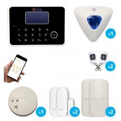 Alarme G6 sans fil GSM et RTC avec sirène déportée et détecteur de fumée connecté - Appartement T3 / T4
