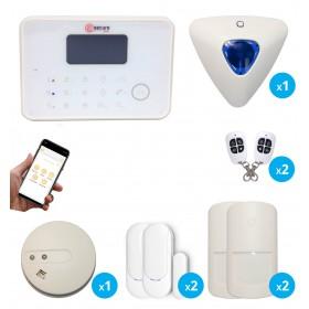 kit alarme sans fil GSM et RTC avec sirène déportée et détecteur de fumée connecté