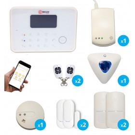 Alarme G6 sans fil GSM et RTC avec détecteur de fumée et de gaz connectés