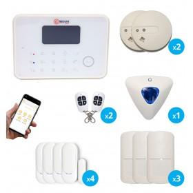 Pack alarme G6 sans fil GSM et RTC avec sirène déporté et détecteur de fumée connecté