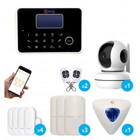 Pack d'alarme sans fil gsm et rtc avec caméra intérieure connectée