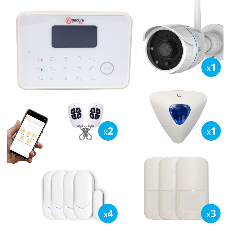 Systeme d alarme sans fil gsm et rtc avec camera de surveillance exterieure hd
