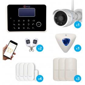 Systeme d alarme sans fil gsm et rtc avec camera de surveillance exterieur FULL hd